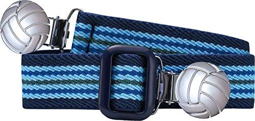 Playshoes Unisex - Kinder Gürtel 601211 Elastischer gestreifter Kindergürtel mit Fußball Clips, passend bei Größe 74-110, Gr., Blau (hellblau/marine)