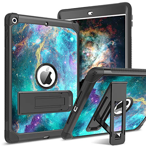 BENTOBEN iPad 10.2 2019 Hülle, iPad 8 Generation Hülle (2020) /iPad 7th Hülle, iPad 10.2 Hülle Nebula mit faltbarem Kickstand 3 IN 1 Hybrid PC Schale Silikon Schutzhülle iPad 10.2 2019 Grün Galaxie