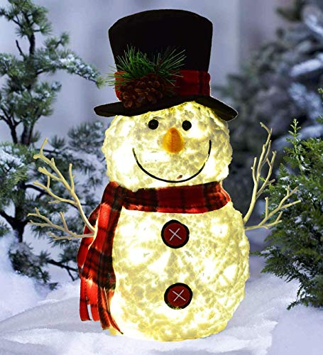 MRah Christmas Lighted Snowman Decoration - 15 Inch LED Standing Snowman with Knitted hat and Scarf, Battery Operated, Great Christmas Decoration and Gift