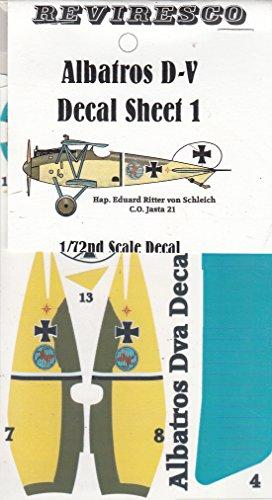Albatros D-V - Deutscher Jagdflieger - 1. Weltkrieg - Decal Set 1 - Eduard Ritter von Schleich Jasta 21 - Dekorsatz - 1:72