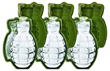 MoldFun 3 Piece 3D Grenade Ice Cube Mold, Life Size Hand Grenade Whisky Ice Ball Tray Maker, A Great Gift For Men, Military Fan