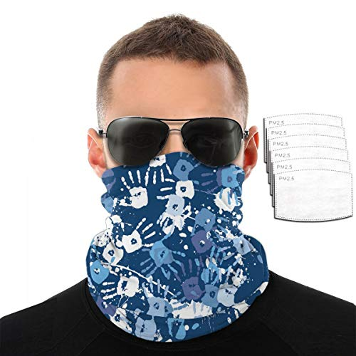 ZZFENG Splashes of Paint and Handprints Neck Gaiter Mouth Cover Bandana with 6activated Carbon Filters Piece