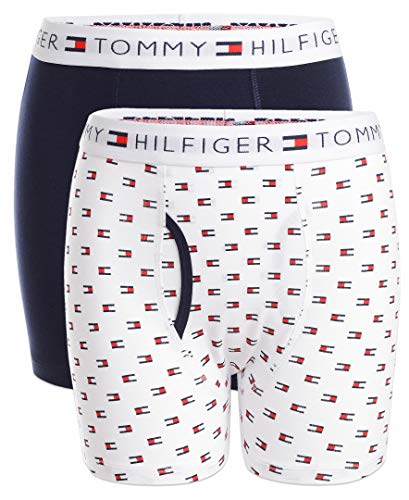 Tommy Hilfiger Big Boy's Boys' Boxer Briefs (Pack of 2) Underwear, Bright White, Medium (8/10)