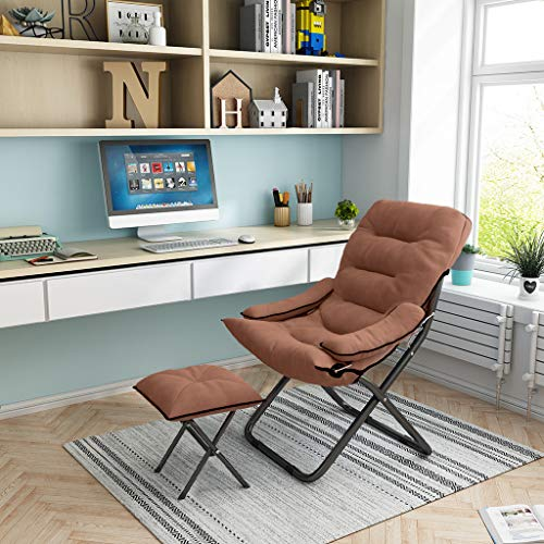 C-Easy Folding Sleeper Chair with Matching Footstool,Convertible Lazy Chair with Soft Pillow,3 Position Adjustable Ergonomic Recliner Computer Gaming Chair with Footrest (Brown)