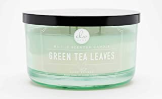 DW Home Green Tea Leaves Large 3-wick Candle - pastel green colored dish candle by Decoware