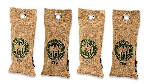 Qihua Fresh Bamboo Bambus Aktivkohle Geruchsneutralisierer & Luftentfeuchter | natürlich & hocheffektiv | 100% biologisch abbaubar & umweltfreundlich (4 x 75 Gramm) Das Sonderformat für SCHUHE