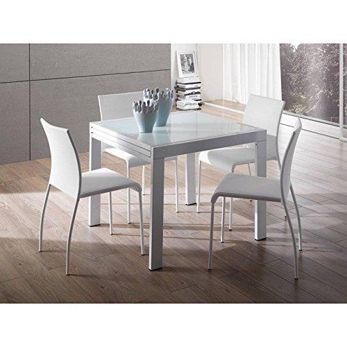 Tavolo allungabile metallo cromato e vetro extrawhite Design Bianco