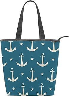 ISAOA Große Einkaufstasche aus Segeltuch, marineblaues Ankermuster, Handtasche für Mädchen und Frauen