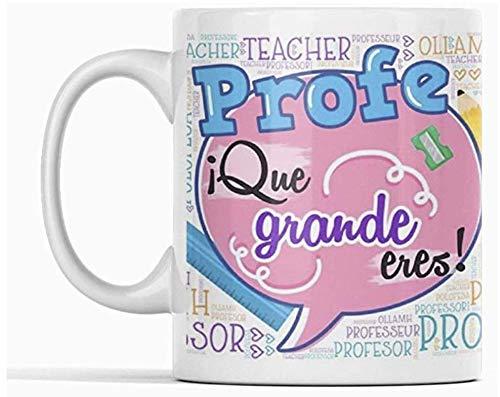 Clapper Taza PROFE Que Grande Eres. Taza Profesores y Maestros