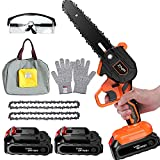 ZNP Mini Chainsaw Cordless, Battery Powered Chainsaw, 6 inch Handheld Portable Chain Saw for Tree Pruning, Electric operated Small Chainsaw for Gardening Tree Branch Wood Cutting (orange)