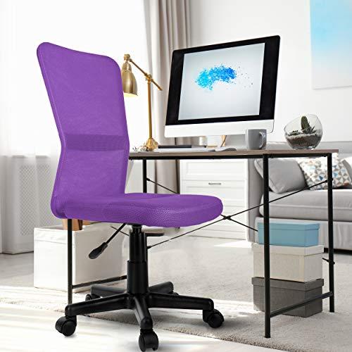 TRESKO Silla de Oficina Escritorio giratoria, Disponible en 7 Variantes de Colores, con Ruedas para Suelos Duros, Regulable en Altura de Forma Continua, Respaldo ergonómico (Púrpura)