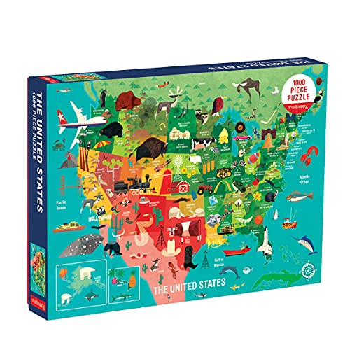 Mudpuppy 1000 Piece United States Jigsaw Puzzle for Adults and Families, USA Family Puzzle with Vibrant Illustrations of The Attributes of The 50 States, One Size (9780735353244)