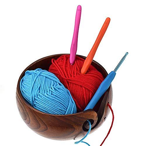 Wool Yarn Organizer, SUNJULY Portable Yarn Bowl, Knitting, Crochet Holder, Handmade Natural Wooden Wool Yarn Storage Bowl, 21-23cm