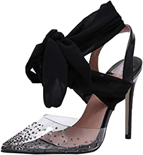 Cenglings Women's Sexy PVC Transparent Rhinestone Pointed Toe Pumps Stiletto High Heels Sandals Lace Up Bowknot Party Shoes