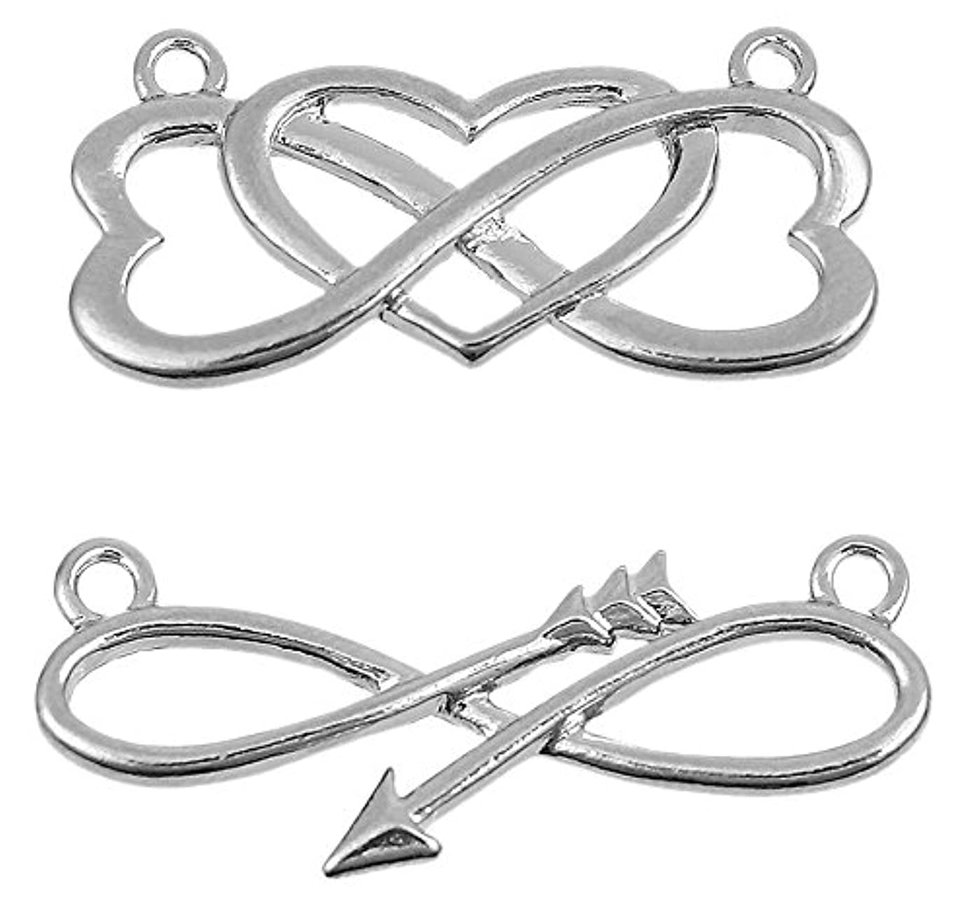 Twist Infinity 10 Pack Connectors (5 of Each) Arrow and Heart Theme - Findings, DIY Crafts, Jewelry Making, Charms