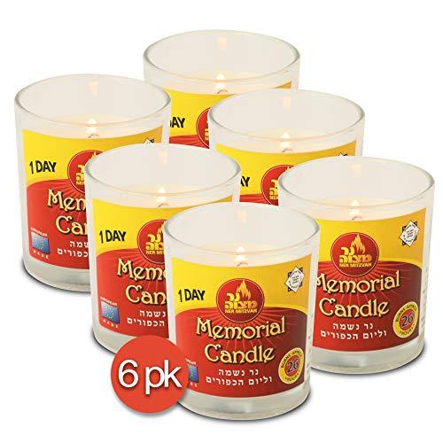 Ner Mitzvah Vela Yahrtzeit de 1 día – Paquete de 6 – 24 horas Kosher Memorial y Yom Kippur Vela en tarro de cristal