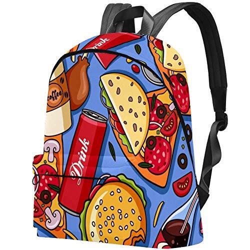 Colorful American Fast Food Pizza Hotdog Travel School Bags Boys Girls Bookbag Daily Casual Bags
