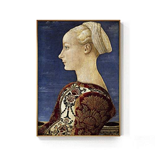 NOBRAND Caballero Medieval Europeo Hermosa Dama Pintura impresión affiche Retro Classique Arte de Pared para Sala de Estar Pasillo sin Marco-b_30x45cm