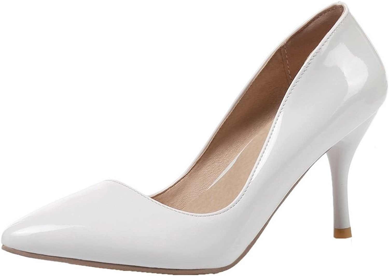 WeenFashion Women's Solid PU High-Heels Closed-Toe Pull-On Pumps-shoes