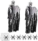 Homo Trends 2 Stück 89,9 x 57,9 cm hängende Geisterdekorationen, Halloween-Requisiten, Halloween-Skelett-Dekoration, 60 g Spinnennetz und 6 Halloween-Spinnen für Halloween-Dekoration.
