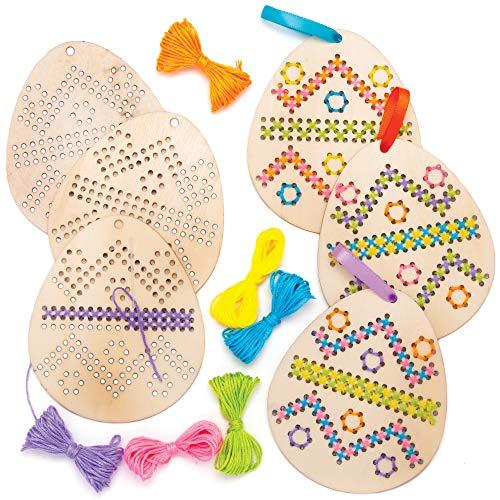 Baker Ross Kits de décorations œufs Point de Croix (Paquet de 5) -Loisirs créatifs de Pâques pour Enfants, AT433