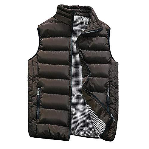 KEERADS HOMME Veste Gilet Casual Chaud Doudoune Vest sans Manche Manteau Blouson Zipper Automne Hiver(FR-52/L,café)