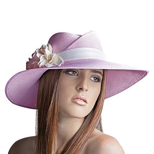 Jack Carrera Veronica Rose Panama Chapeau Femme - Chapeau en Fibres de Paille 100% Naturelle - Fait à la Main en Equateur - Chapeau Fait à la Main en Paille