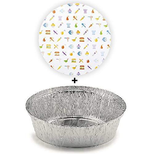 TELEVASO - 100 uds - Envase/recipiente de aluminio redondo + tapas de cartón - Capacidad 1000 ml y tamaño 167 x 37 mm - Bandejas desechables y reciclables, apto para altas temperaturas