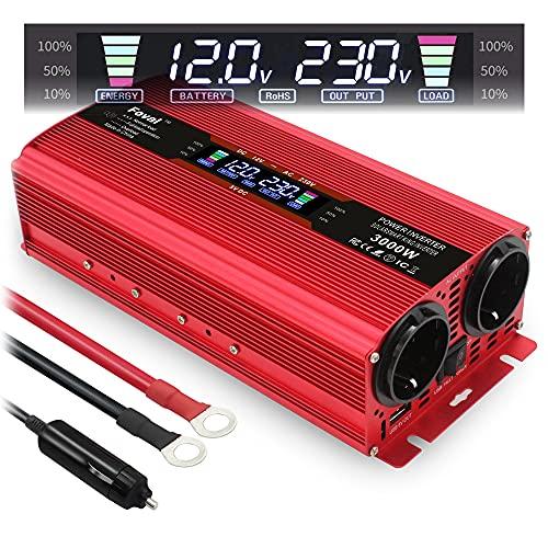 Transformador de corriente (12 V, 230 V, 1500 W, 3000 W, LCD, con 2 enchufes USB), color rojo