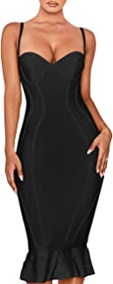 UONBOX Women's Rayon Bandage Dress Spaghetti Strap Bodycon Party Mermaid Fishtail Dress