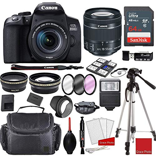 Canon EOS 850D (Rebel T8i) Kit with EF-S 18-55mm f/4-5.6 STM Lens + Sandisk 64GB Memory + Professional Accessory Bundle