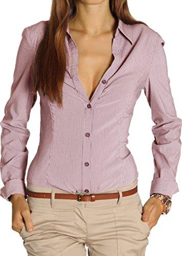 bestyledberlin Damen Blusen gestreift, Streifendessin Hemden tailliert, Stretch Oberteile t25z 40/L hellrot