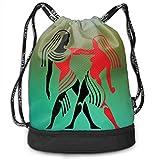 ewtretr Sacs à Cordon,Sac à Dos Women Gemini Drawstring Backpack Compartment Sport Bag Travel...
