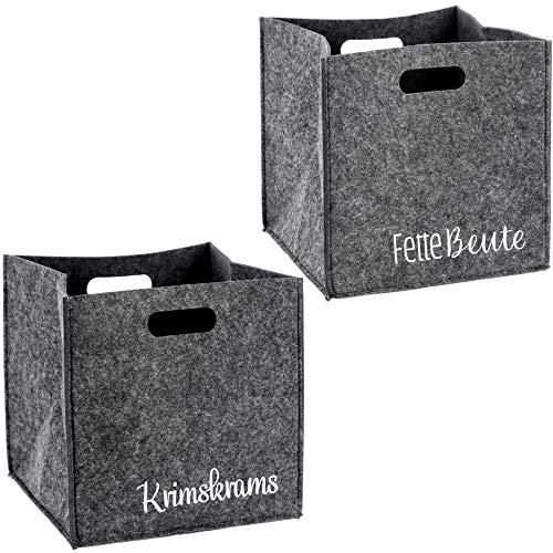 Bada Bing 2er Set Filzkorb GRAU Spruch Aufbewahrung Quadratisch Box Stabiler Korb Regalsysteme 63