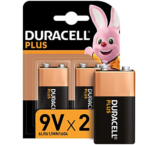 Duracell - Plus 9V, Pilas Alcalinas, paquete de 2, 1.5 Voltios 6LR61 MX1604, Amazon exclusive