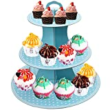 Soporte de Cartón para Pasteles, 3 Pisos Soporte para Cupcakes, Redondo Torre Exhibición Cupcakes, Plato de Soporte postre para Té de La Tarde,Frutas, Comida, Cumpleaños, Bodas (Azul)