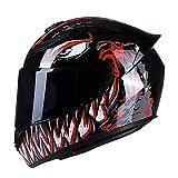 GENGJ LC Casco De Moto Rading Moda De Cara Completa Ligero para Carreras De Motos Disponible En Cuatro Estaciones Ligero Cómodo,A,S