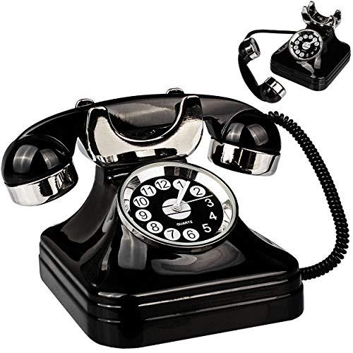 alles-meine.de GmbH kleine - Tischuhr / Miniatur - Uhr - Telefon - aus Metall - 8 cm - batteriebetrieben - Analog - Batterie - schwarz - Zahlen Stehuhr / Standuhr - Wohnzimmer Ki..