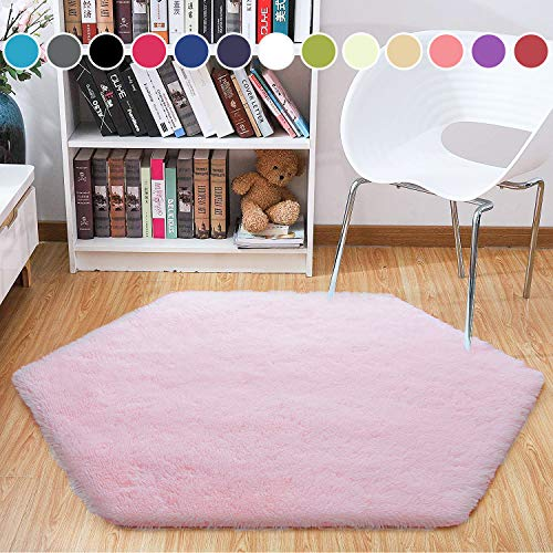 Junovo Ultra Soft Rug for Nursery Children Room Baby Room Home Decor Dormitory,Hexagon Carpet for Playhouse Princess Tent Kids Play Castle,Diameter 55-inch,Pink