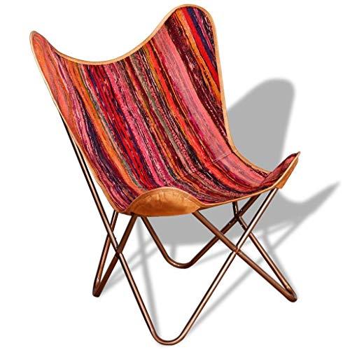 Wealthgirl Schmetterlingsstuhl, Sessel Sleeper Chair Leder Schmetterlingsstuhl Home Indoor Wohnzimmer Schlafzimmer Sleeper Seat Möbel Multicolour Chindi Fabric (Mehrfarbig)