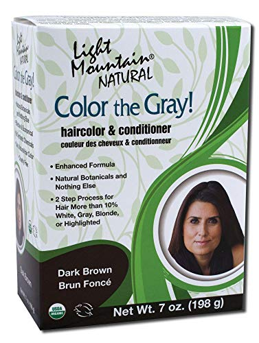 Light Mountain Natural Color The Gray! Hair Color & Conditioner, Dark Brown, 7 oz , (Pack of 2) by Light Mountain
