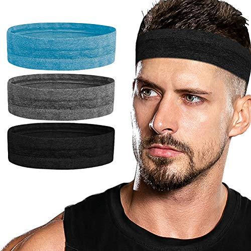 Sport-Stirnbänder, rutschfest, Schweißband, für Damen und Herren, für Laufen, Yoga, Radfahren, Basketball (Blau)…