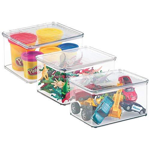 mDesign panier de rangement pour jouets, lot de 3 – bac de stockage pour jouets, rangement sous lit – organiseur de chambre d'enfant, avec couvercle – couleur : transparent