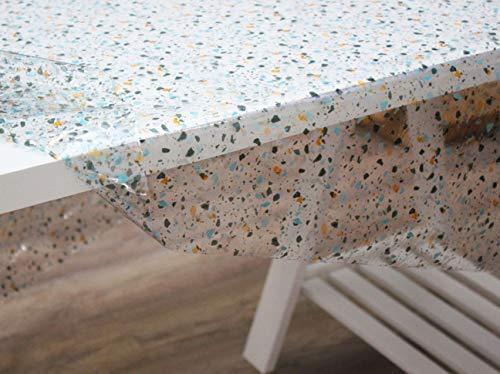 Mantel Hule PVC Transparente Estampado Moteado, Terrazo Aqua (140_x_140_cm)