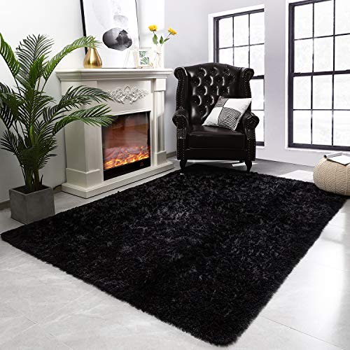 Modern Fluffy Large Area Rugs for Living Room Bedroom, Soft Shaggy Plush Long Fur Rug Kids Non-Slip Play Mats, Fuzzy Floor Carpets for Girls Room Dorm Nursery Indoor Decor, Black 5x8 Feet