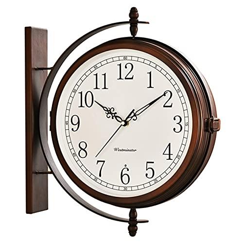 Reloj De Pared Simple Simple Americano, Reloj De Cuarzo Creativo Nórdico, Reloj De Doble Cara para La Sala De Estar En El Hogar