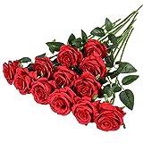 Hawesome 12 rosas artificiales de flores falsas solo tallo largo Rosas decoración de boda ramo de novia arreglo de flores decorativas para decoración del hogar, centros de mesa en rojo blanco (A Red)