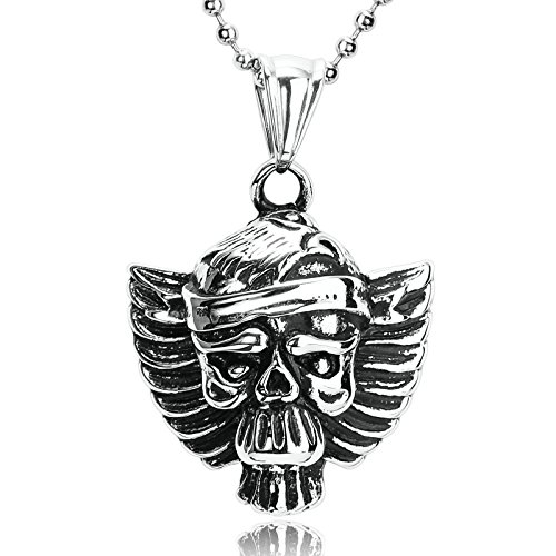 Blisfille Collar Punk Hombre Collar Calavera Hombre,Cráneo En Forma de Águila Colgantes Acero para Cenizas Collar de Negro Plata