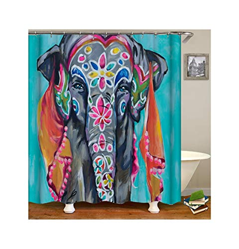 Dreamdge Duschvorhang Blauer Elefant, Wasserdicht Antibakteriell Polyester Vorhang Für Dusche & Badewanne Duschvorhangs 150X200 Mit 12 Haken