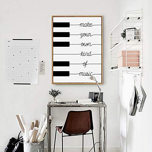 Sandalenka Haga su Propio Tipo de música Diseño de póster en Blanco y Negro Lienzo nórdico Lámina de vivero Imágenes en la Pared Decoración del hogar Familiar 50x70cm